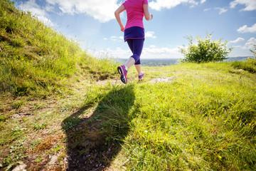 Woman healthy trail run