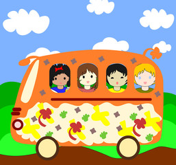 Happy children of different races going on the school bus