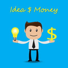 Businessman character with ideas and money concept