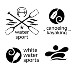 rafting canoeing and kayaking water sports icons