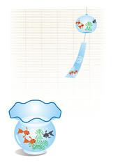 金魚の風鈴と金魚鉢と簾のポストカード
