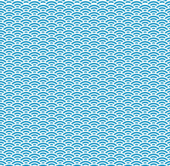 Japanese Blue Wave Seamless Pattern
