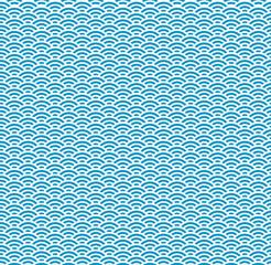 Japanese Blue Wave Seamless Pattern