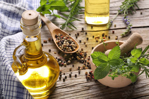 herbs and oil - 65235796