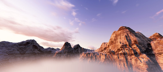 beautiful sunset over mountains. 3d render