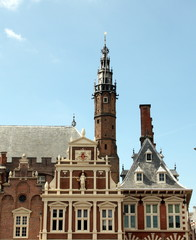 The facade of the old town hall in Haarlem