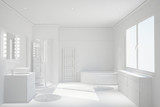 Fototapety Modernes weißes sauberes Bad
