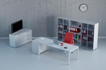 Leeres modernes Büro mit Schreibtisch