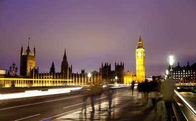Night view of Big Ben and Houses of Parliament, London UK