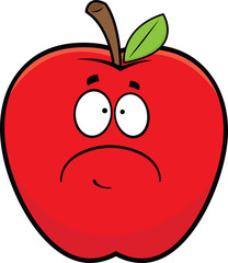 Cartoon Sad Red Apple