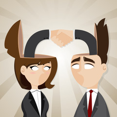 cartoon businessman and businesswoman check hand in they head