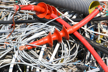tangle of electrical cables of copper in a landfill