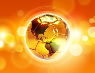 gold soccer  with world map on shiny background