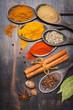 Spices Paprika, turmeric, masala, cinnamon, nutmeg, star anise