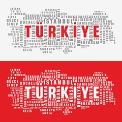 Turkey state map vector tag cloud 2