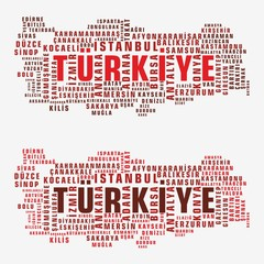 Turkey state map vector tag cloud
