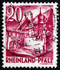 Postage stamp Rhine, Germany 1948 Street Corner, St. Martin