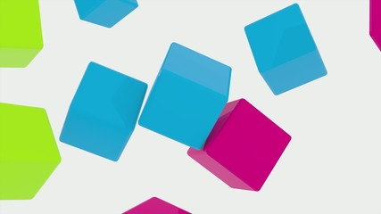 3D COLORED CUBES BOUNCING AND SPINNING 03