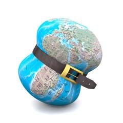 "Planet earth belt tightening - Global economic crisis"""