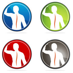 Human vertebral column health sign collection, colorful designs.