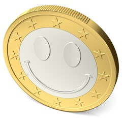 Ein Euro Münze mit fröhlichem Smiley