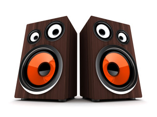 Two wooden speaker