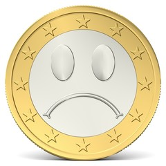 Ein Euro Münze mit traurigem Smiley