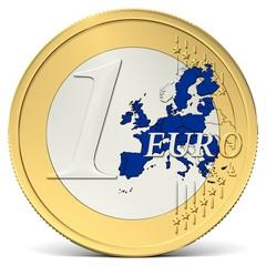 Ein Euro Münze mit blauem Europa
