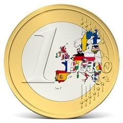 Ein Euro Münze mit buntem Europa mit Flaggen
