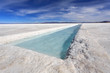 Water pool on the Salinas Grandes salt flats in Jujuy province,