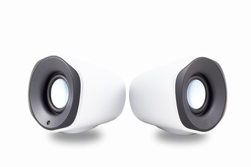 Pair of isolated white speakers