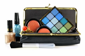 Makeup bag with assorted cosmetics