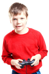Cute boy with gamepad in hands