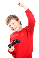 Happy boy with gamepad in hands