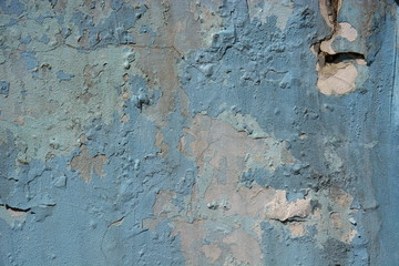 Old blue peeled wall