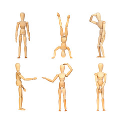 Sequence gestures articulated wooden mannequin