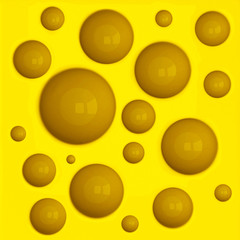 Yellow porous cheese background, 3d