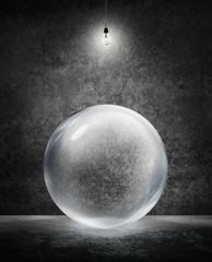 transparent sphere under light