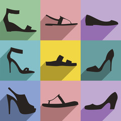 Shoes flat icons