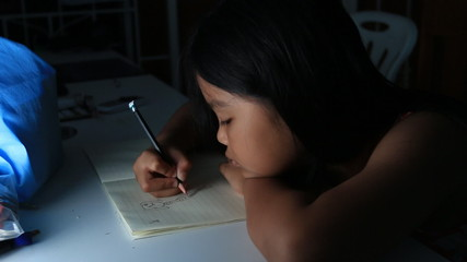 Children drawing cartoon on night time