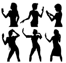 Girl silhouettes taking selfie with smart phone