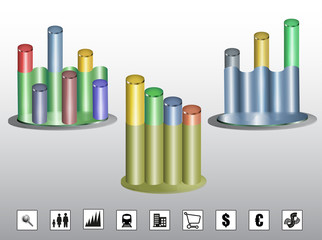 Colorful cylindrical graphs with icons