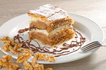 Gibanica - traditional slovene cake pie, filled with walnuts