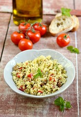Fresh tabouleh, tabbouleh with couscous, vegetables