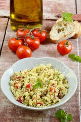 Tabouleh, tabbouleh, taboule with couscous and vegetables