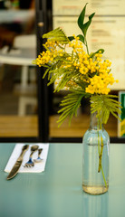 Mimosa in a vase on table layed for dinner