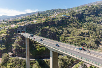 Bridge with highway at Madeira Island, Portugal