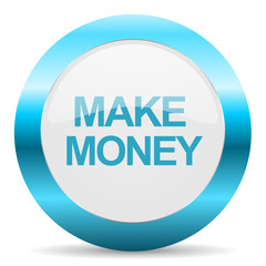make money blue glossy icon