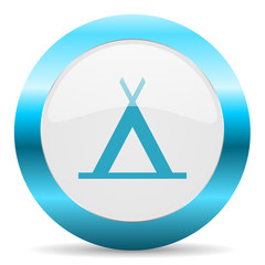 camp blue glossy icon