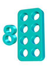 turkuaz renkli sayı kartı